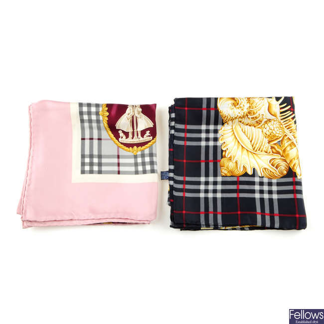 BURBERRYS - two silk scarves.