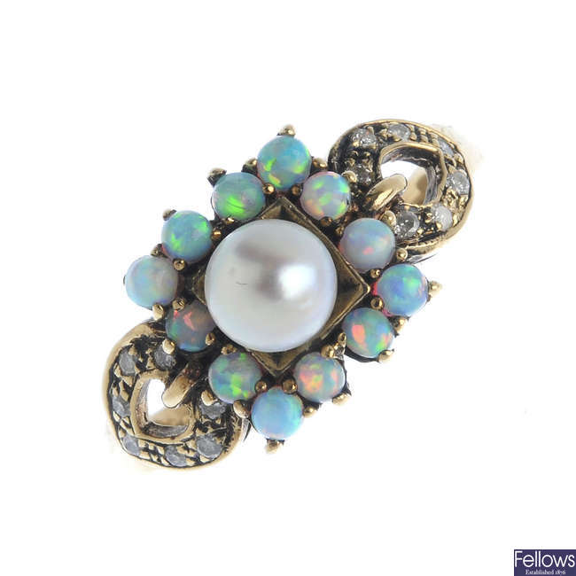A 9ct gold split pearl, opal and diamond ring.