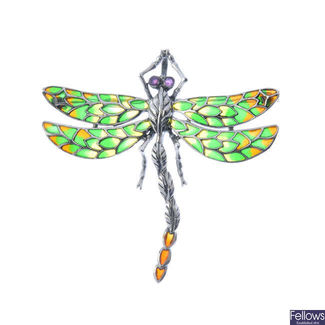 A ruby and plique-a-jour enamel dragonfly brooch.