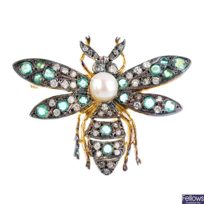 A cultured pearl, diamond and emerald bee brooch.