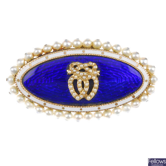 A late Georgian gold, blue enamel and cultured pearl memorial brooch, circa 1830.