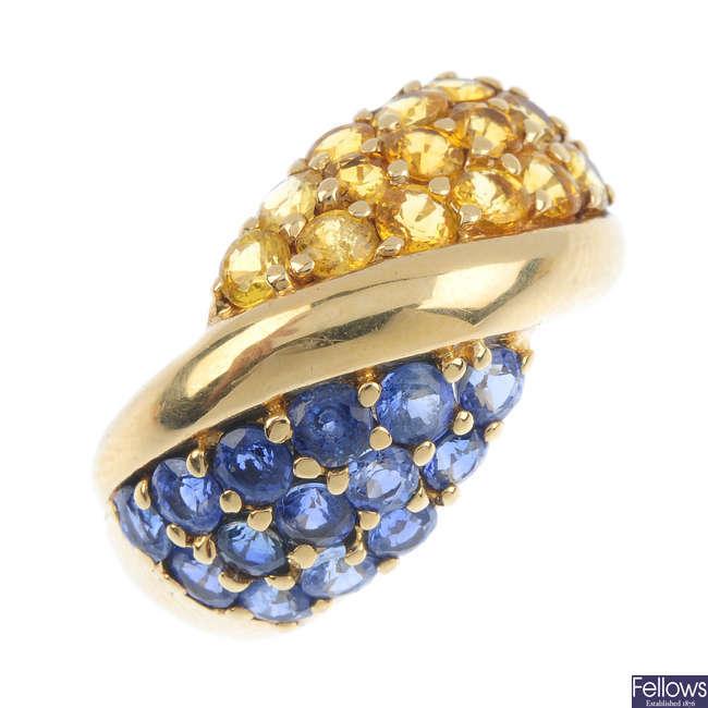A sapphire dress ring.