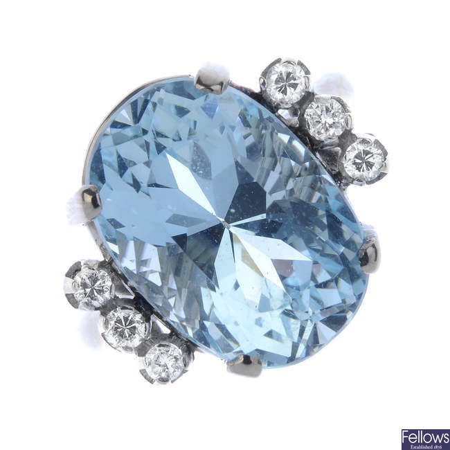 An aquamarine and diamond cocktail ring.