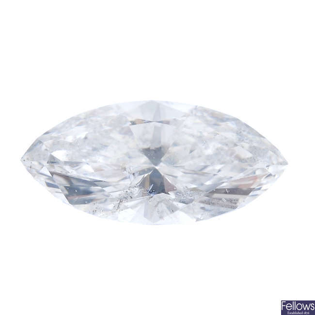 A marquise-shape diamond, weighing 0.26ct.