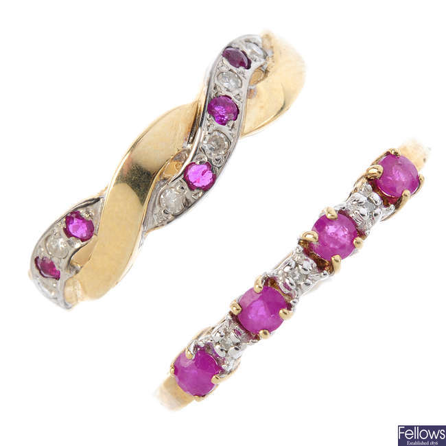 Three 9ct gold ruby and diamond rings.