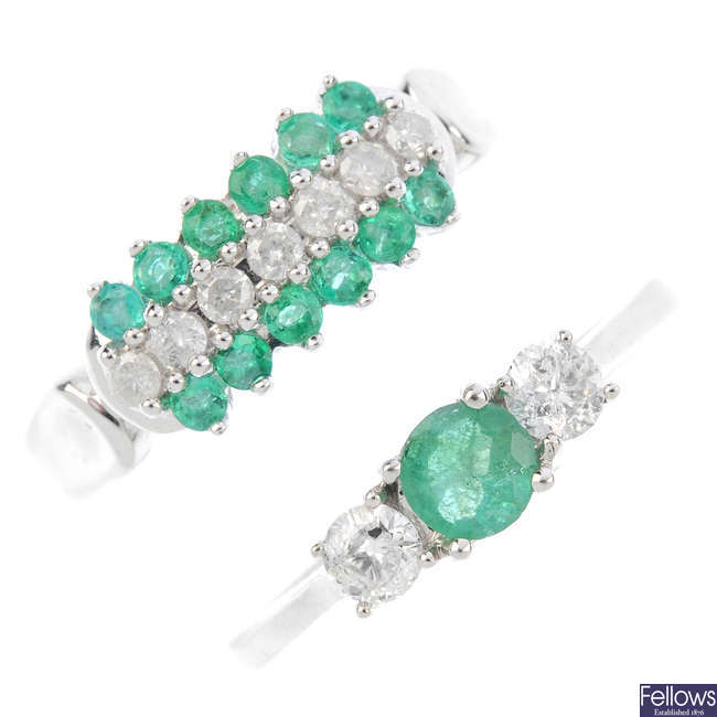 Two emerald and diamond rings.