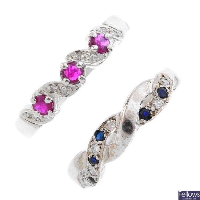 Three 18ct gold diamond and gem-set band rings.