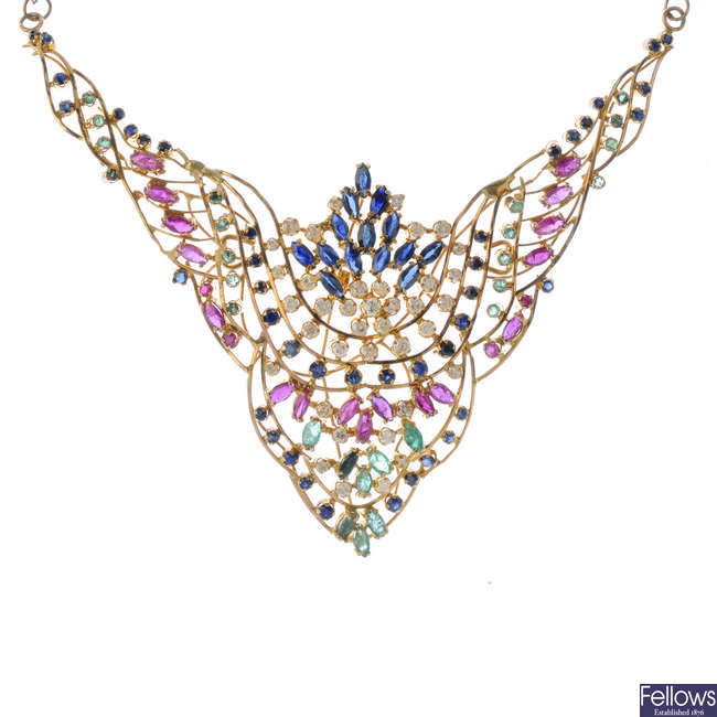 A diamond and gem-set necklace.