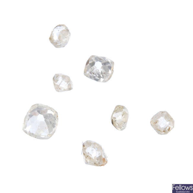 A selection of old-cut diamonds, total weight 0.66ct.