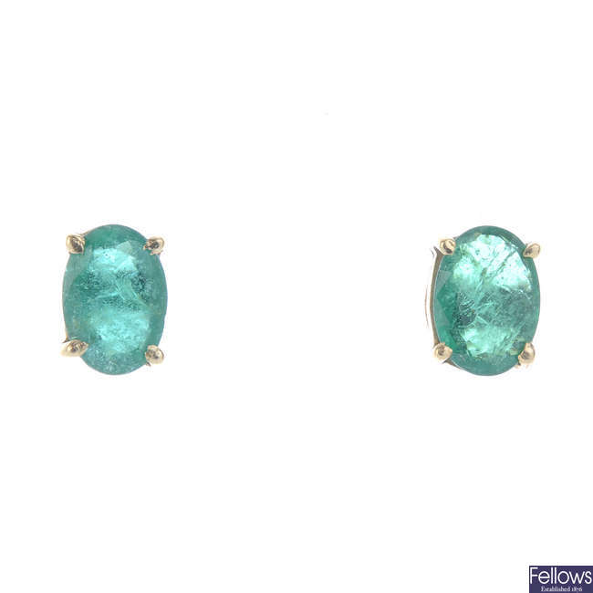 A pair of emerald ear studs.
