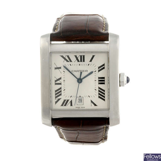 CARTIER - a stainless steel Tank Francaise XL wrist watch.