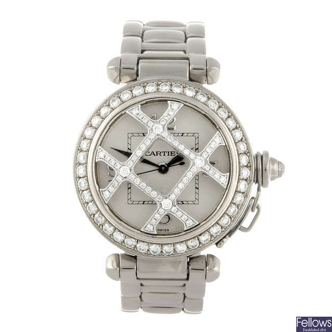 CARTIER - an 18ct white gold Pasha bracelet watch.