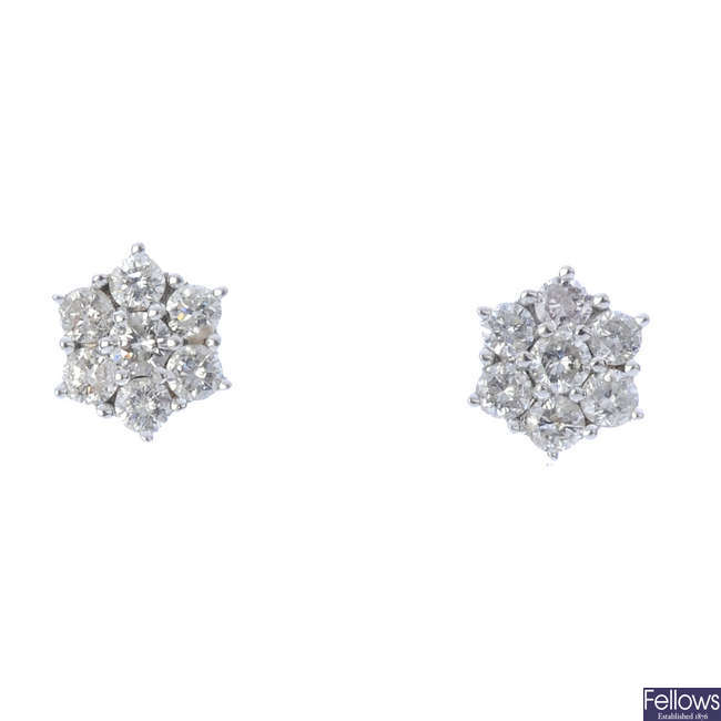 A pair of 9ct gold diamond cluster ear studs.