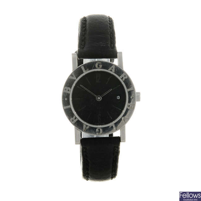 BULGARI - a lady's stainless steel Bulgari wrist watch.