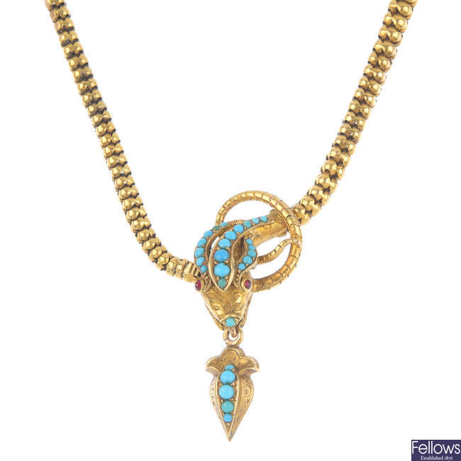 A mid Victorian gold, turquoise and garnet snake necklace.