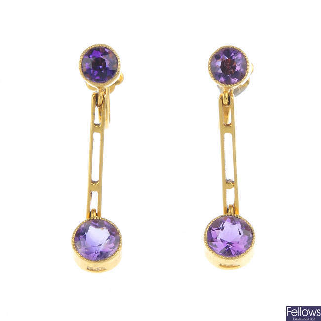A pair of Edwardian 15ct gold amethyst earrings.