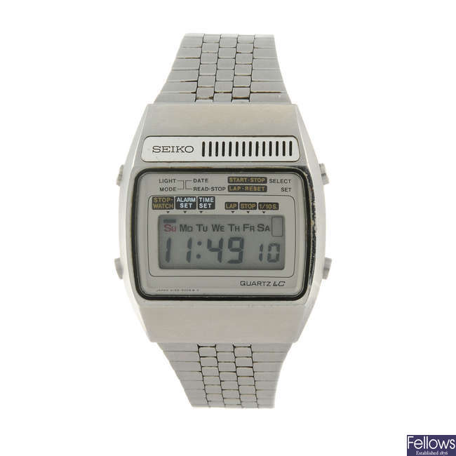 SEIKO - a gentleman's stainless steel LCD digital bracelet watch.