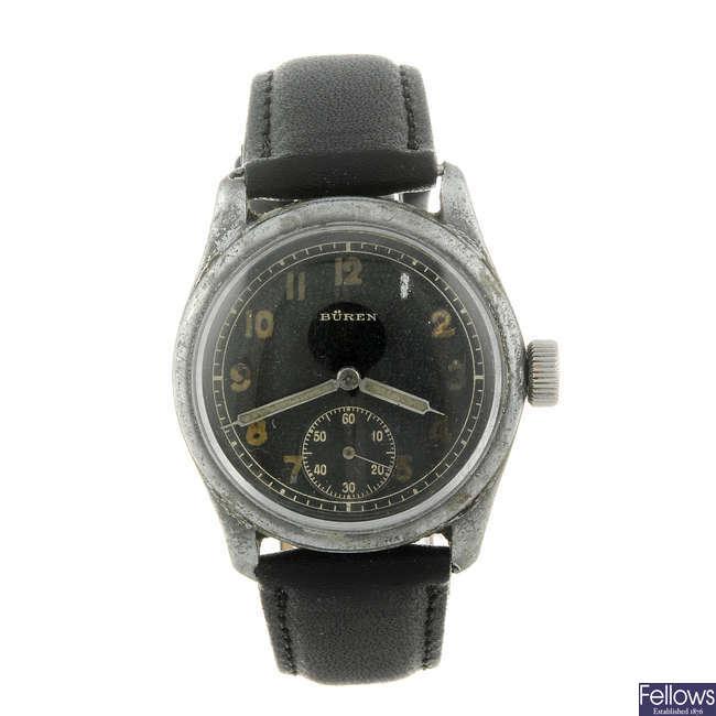 BUREN - a gentleman's nickel plated military issue wrist watch.