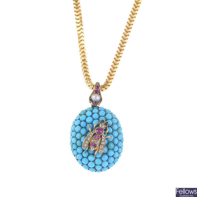 A mid Victorian gold, diamond, ruby and turquoise bug pendant, with chain, circa 1860.