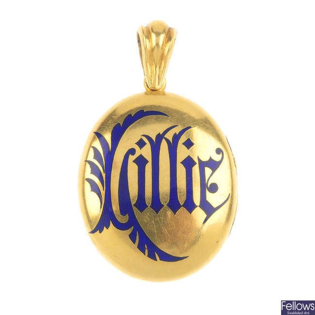 A late Victorian gold enamel locket.