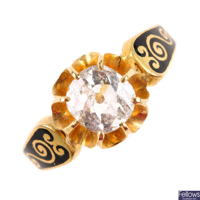 A late Victorian 18ct gold diamond and enamel ring.