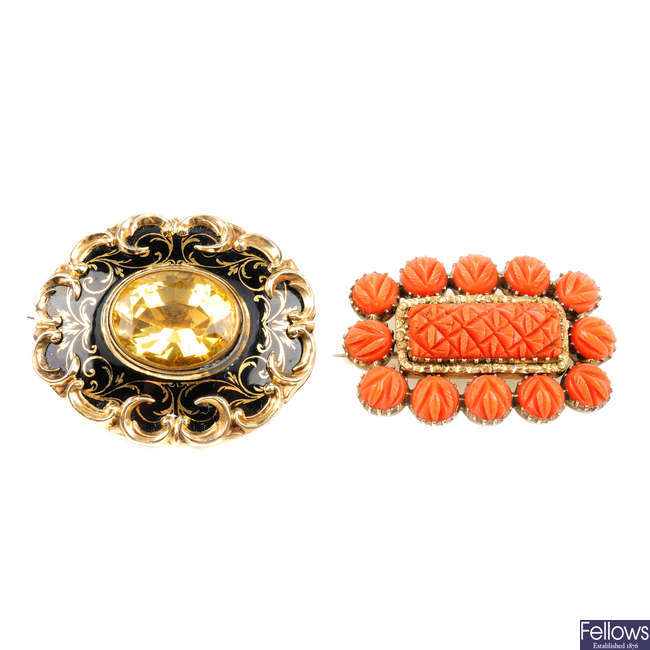 Two mid Victorian gem-set memorial brooches.