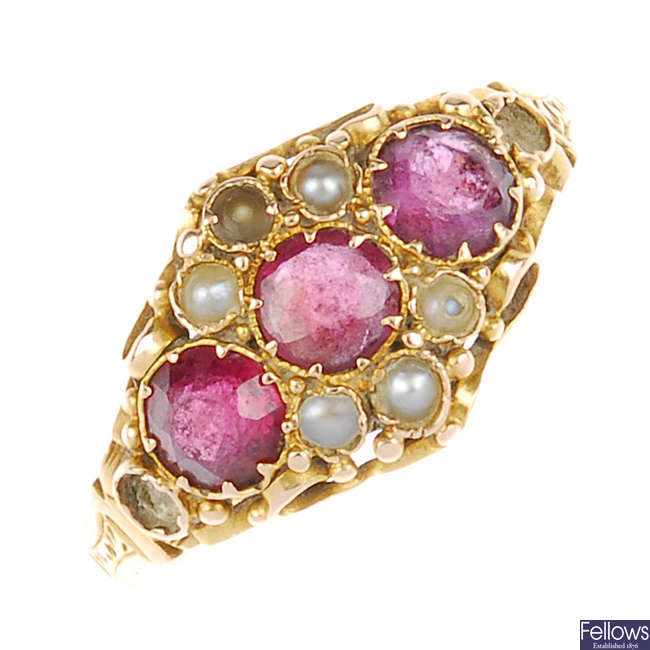 A late Victorian 18ct gold gem-set ring.