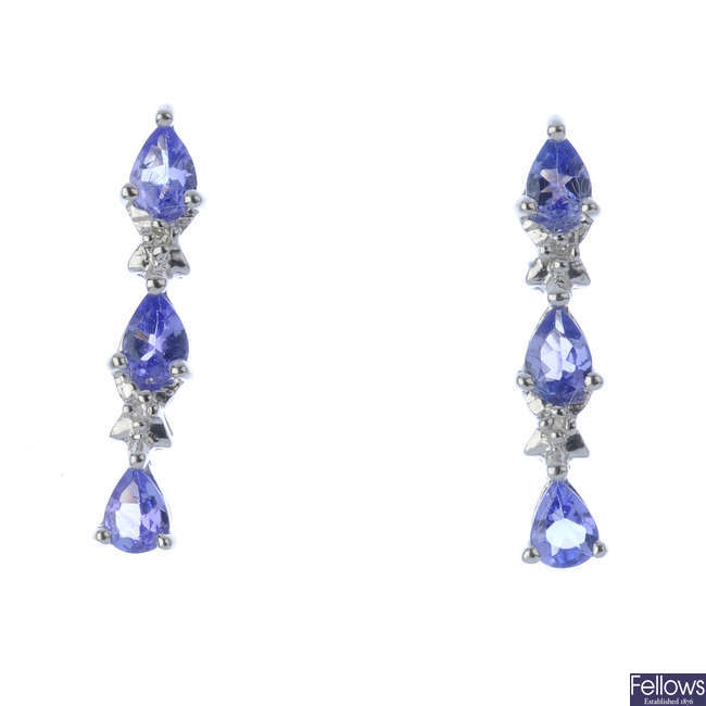 A pair of tanzanite earrings.