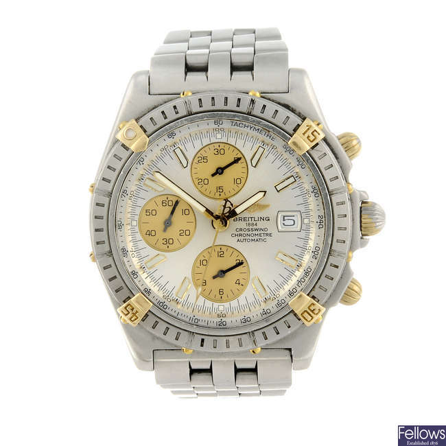 BREITLING - a gentleman's stainless steel Windrider Crosswind chronograph bracelet watch.