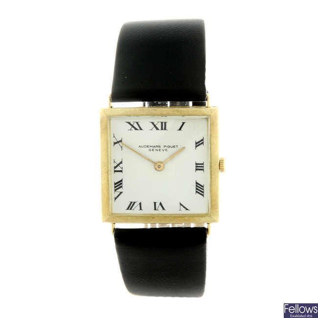AUDEMARS PIGUET - a yellow metal wrist watch.