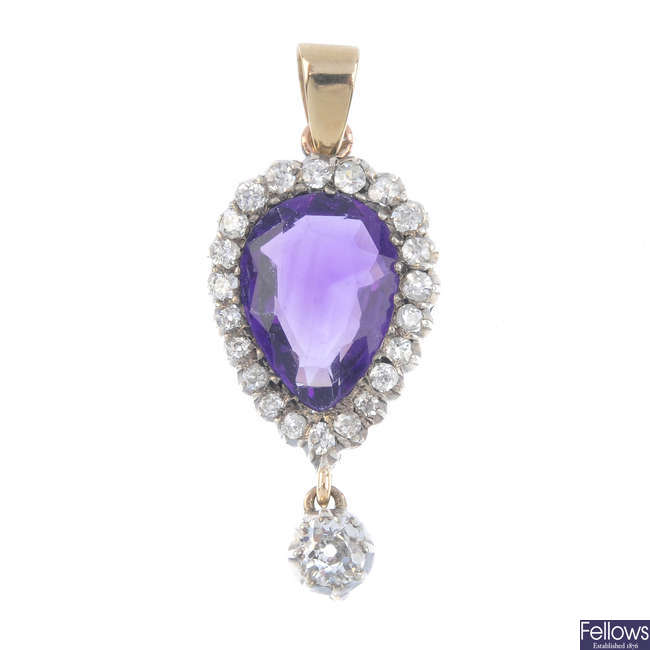 An amethyst and diamond cluster pendant.