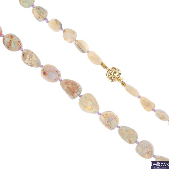 A boulder opal necklace.