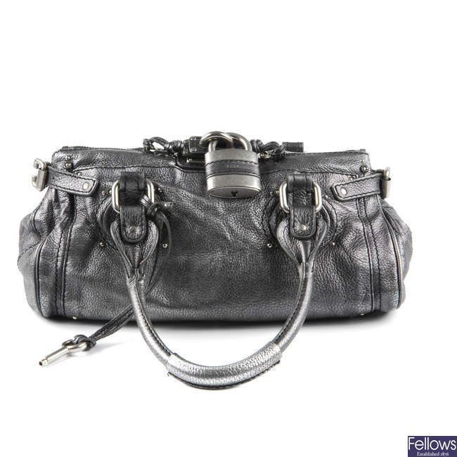 CHLOE - a metallic leather Paddington handbag.