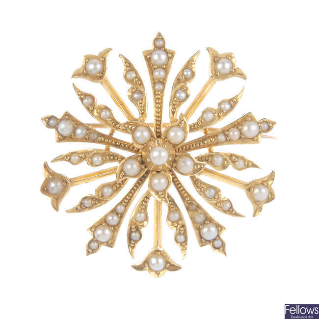 A mid 20th century 15ct gold split pearl brooch.