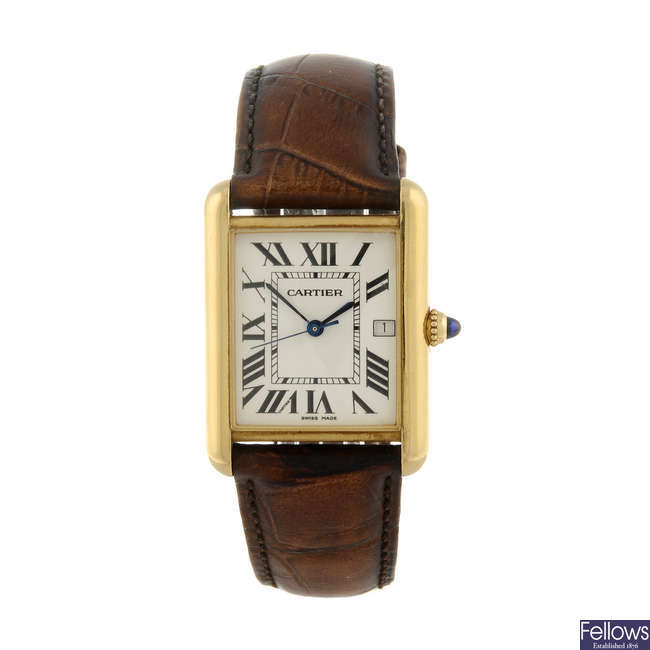 CARTIER - an 18ct yellow gold Tank Louis wrist watch.