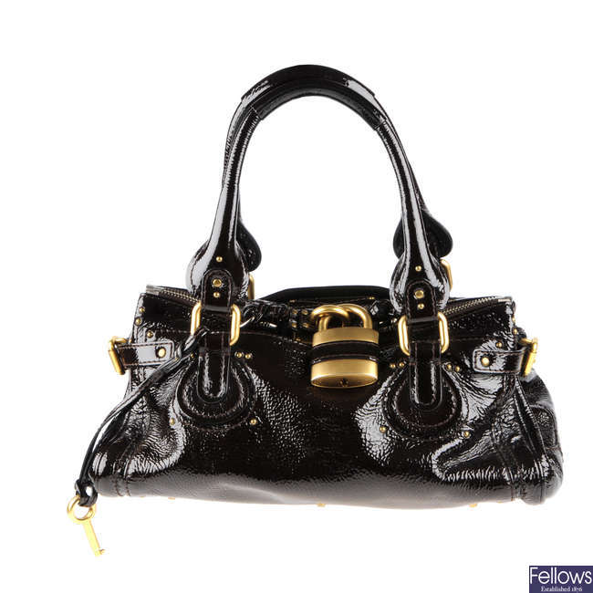 CHLOE - a patent leather Paddington handbag.