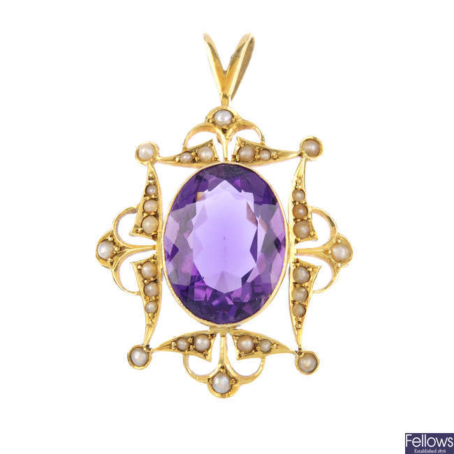 An amethyst and split-pearl pendant.