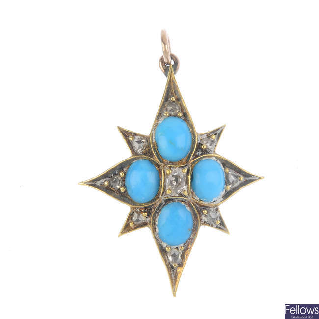 A late Victorian turquoise and diamond pendant.