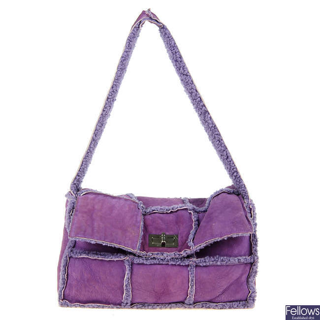 CHANEL - a purple suede Choco Bar handbag.