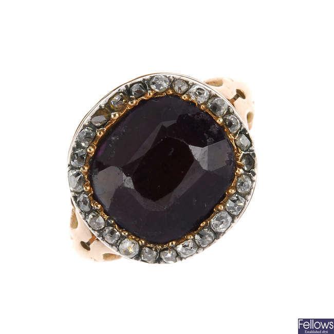 A late Georgian amethyst and diamond memorial ring.