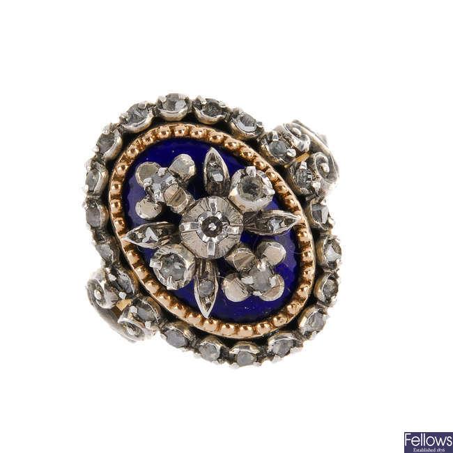 A diamond and enamel ring.