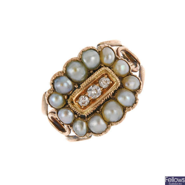 A late Victorian split pearl and diamond ring.
