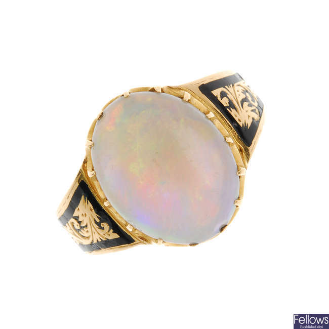 An early 20th century 18ct gold opal and enamel memorial ring.
