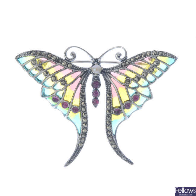A ruby, cultured pearl, marcasite and plique-a-jour enamel butterfly brooch.
