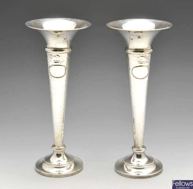 A large pair of Edwardian silver bud vases.