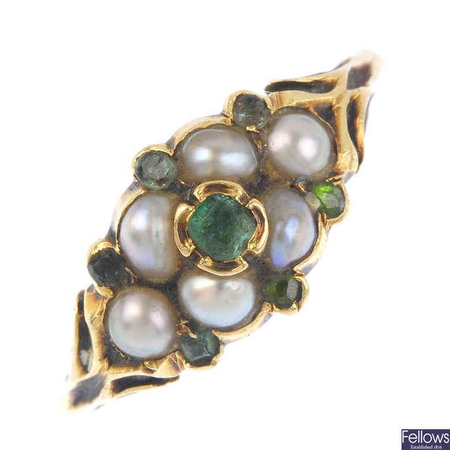 A late Victorian gold gem-set dress ring.