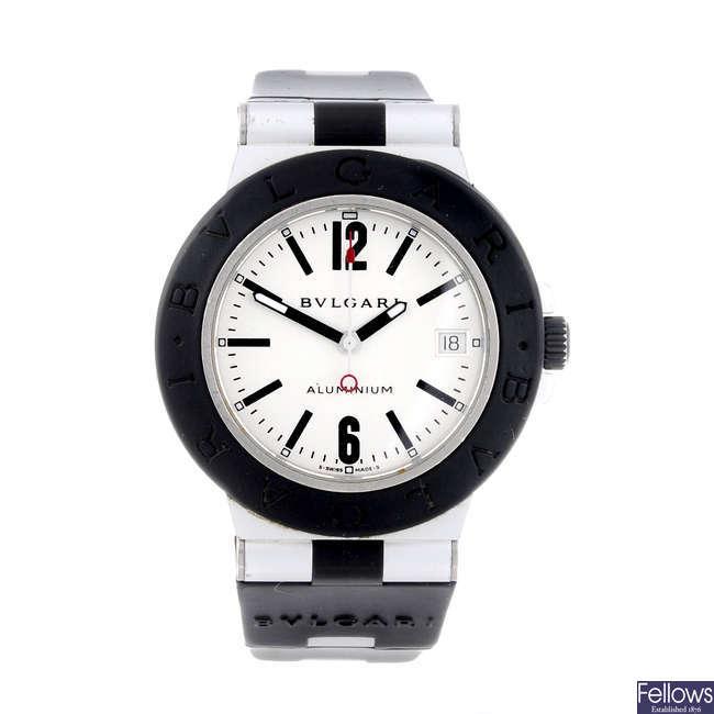 BULGARI - a gentleman's aluminum Diagono Aluminum wrist watch.