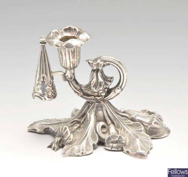 An early Victorian silver chamberstick.