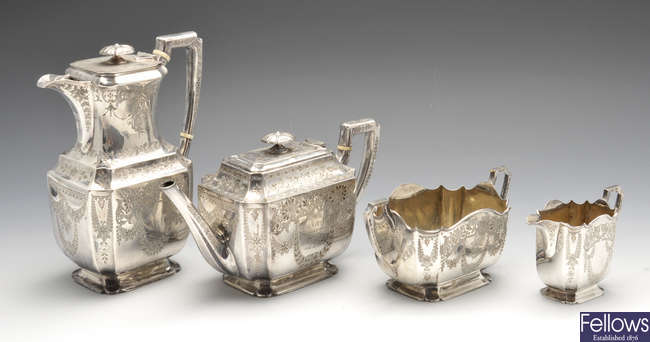 A late Victorian and Edwardian four-piece silver tea service, plus a similar silver plated spirit kettle.