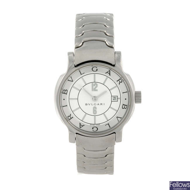 BULGARI - a lady's stainless steel Solotempo bracelet watch.